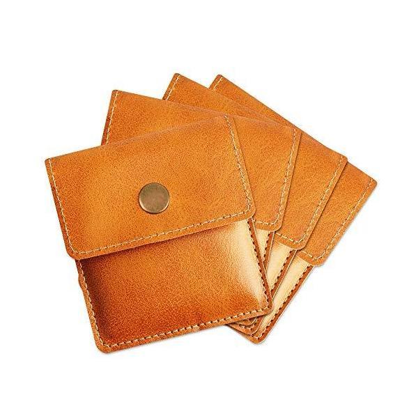 [TEMLUM] 携帯灰皿 携帯用吸殻入れ 4点セット購入 高級 PU 革 小銭入れ 携帯はい皿 おット入れ 小型 マナーを守る サイズ (キャメル)