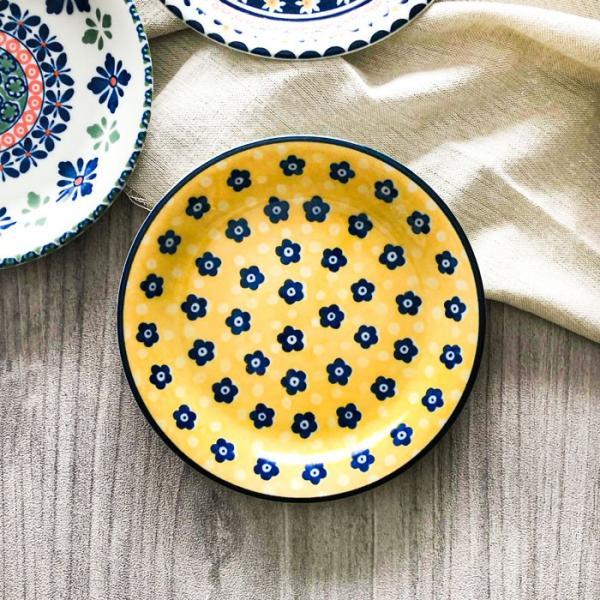 ポルスカ プレートM イエロー 16.5cm PORSKA 取り皿 日本製/美濃焼/ポーランド風模様/東欧調|kitchengoods-bell