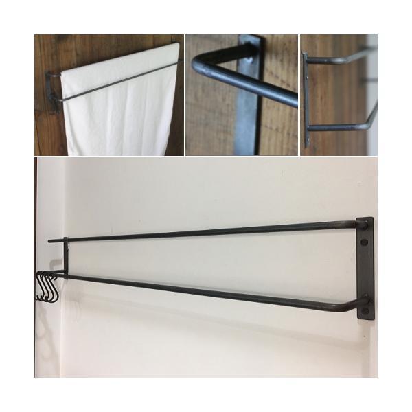 タオルハンガー アイアン 黒 タオル掛け 洗面所 壁 おしゃれ キッチン トイレ アイアンバー バスタオルハンガー 2本バータイプ LLサイズ