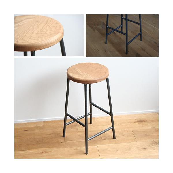 スツール おしゃれ 木製 北欧 アイアン 鉄とオーク材Mサイズ(丸)アンティーク 丸椅子 カウンターチェアー ヴィンテージ 日本製