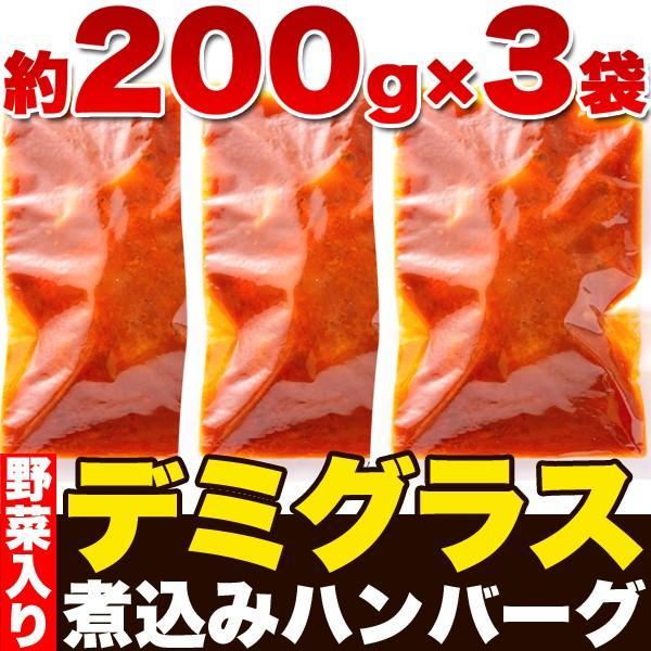 ハンバーグ レトルト ポイント消化 セット お取り寄せ 煮込みハンバーグ デミグラスソース 常温保存 非常食 セール 約200g×3袋 〔メール便出荷〕|kiwami-honpo|03
