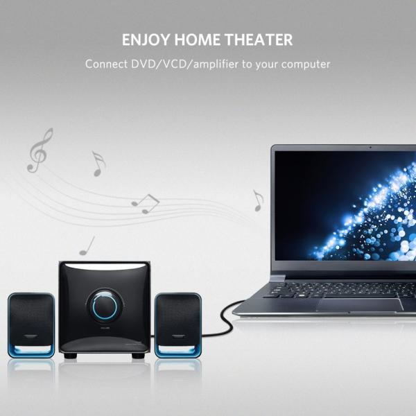 Ugreen 3.5mm ステレオミニプラグ to 2RCA(赤/白) 変換 ステレオオーディオケーブル スマホ タブレット TV 等に対応 2m|kizashi|04