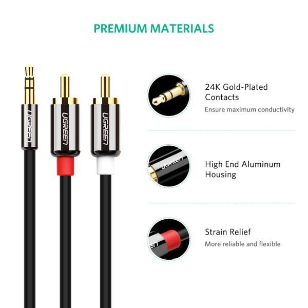 Ugreen 3.5mm ステレオミニプラグ to 2RCA(赤/白) 変換 ステレオオーディオケーブル スマホ タブレット TV 等に対応 2m|kizashi|05