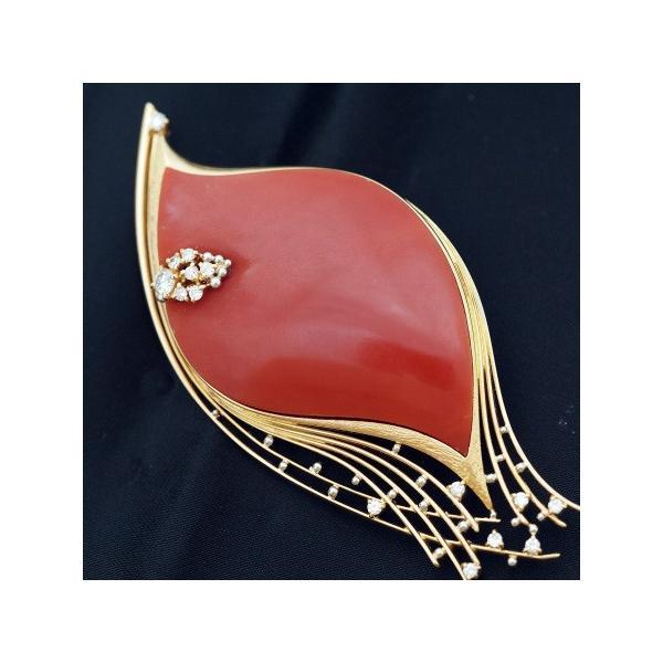 「訳ありアウトレット」K18 赤珊瑚&ダイヤモンド ブローチ /サンゴ さんご 18k