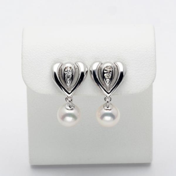 K18WG アコヤ本真珠 ハート イヤリング ネジ式 0.06ct天然ダイヤ付き パール 18金 ホワイトゴールド かわいい ぶら下がり 揺れる
