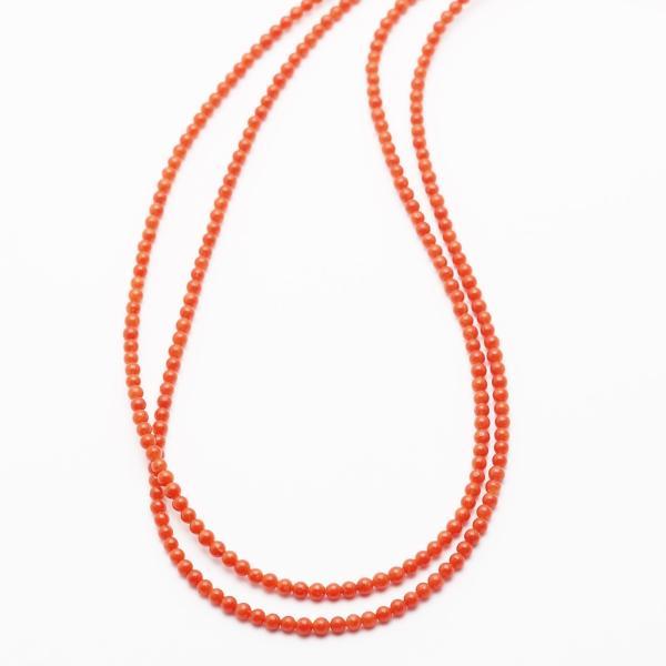 胡渡珊瑚 2連 レイヤーネックレス 朱系カラー 52cm 地中海産赤珊瑚 さんご サンゴ 天然 長め レディース