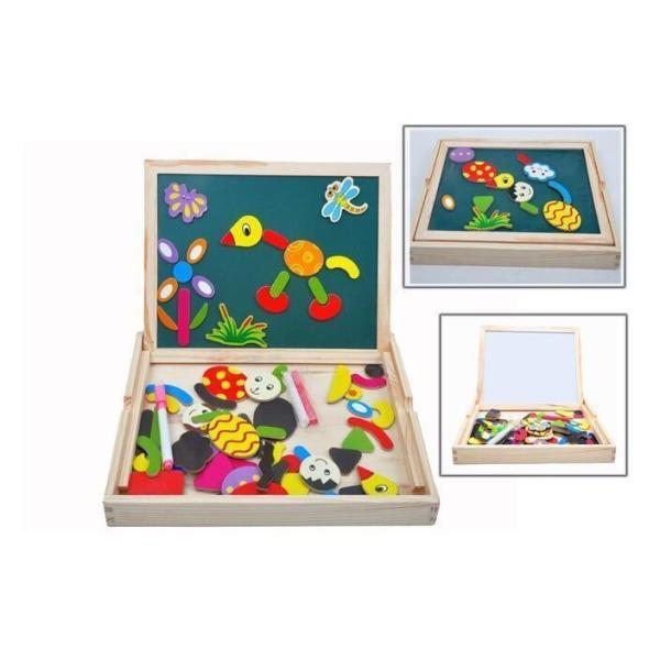 お絵かきボード磁気パズル磁石ブロック子供キッズマグネット玩具両面描画想像力ジグソーホワイトボード黒板木製楽しく学ぶ3歳/4歳/5