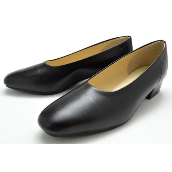 レディースパンプス145ローヒールパンプスオフィスシューズレディース婦人4E幅広ブラック靴