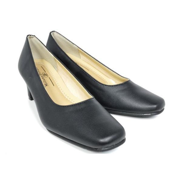 パンプス2200太ヒールローヒールレディース婦人3E幅広オフィス黒ブラック靴
