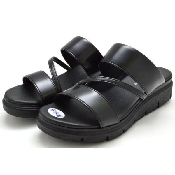 オフィスサンダル5003ウエッジソールレディース婦人日本製ブラックダークシルバー靴