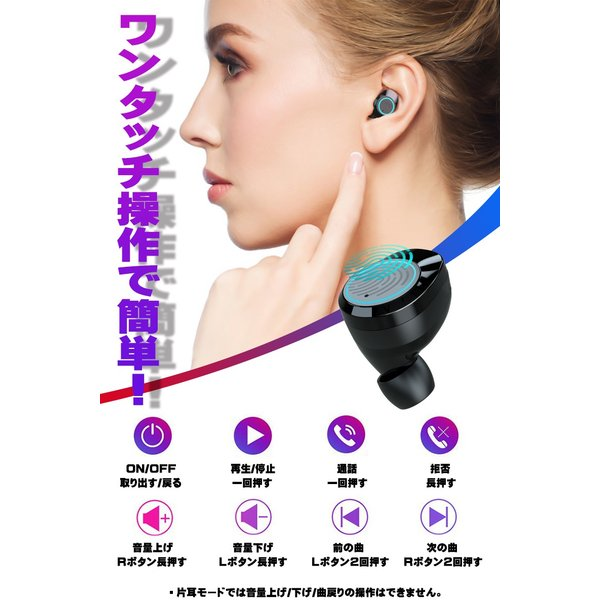 3000mA大容量 ワイヤレス イヤホン Bluetooth 5.0 両耳 片耳 コードレスイヤホン 高音質 ワイヤレスイヤホン スポーツ モバイルバッテリー 音量調整 防水 klmale 12