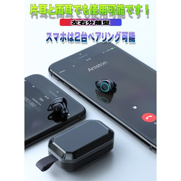 3000mA大容量 ワイヤレス イヤホン Bluetooth 5.0 両耳 片耳 コードレスイヤホン 高音質 ワイヤレスイヤホン スポーツ モバイルバッテリー 音量調整 防水 klmale 14