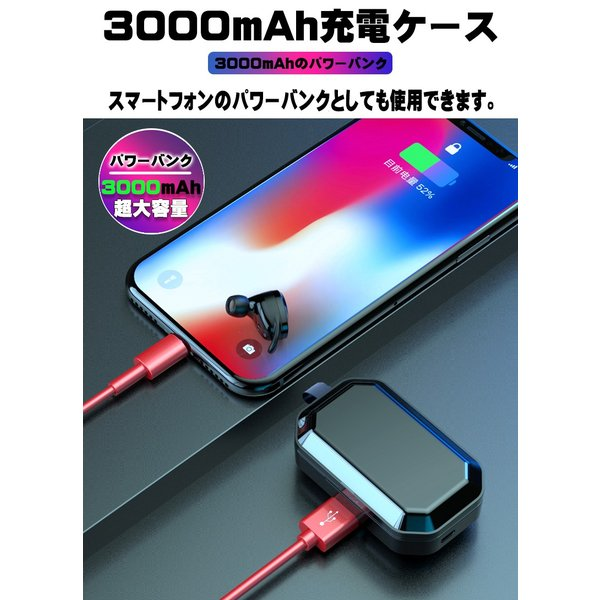 3000mA大容量 ワイヤレス イヤホン Bluetooth 5.0 両耳 片耳 コードレスイヤホン 高音質 ワイヤレスイヤホン スポーツ モバイルバッテリー 音量調整 防水 klmale 10