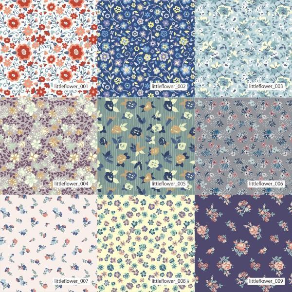 「フラワー100種」3段スムース (フリーカット プリント有効125cm巾) ニット生地|knit-yamanokko