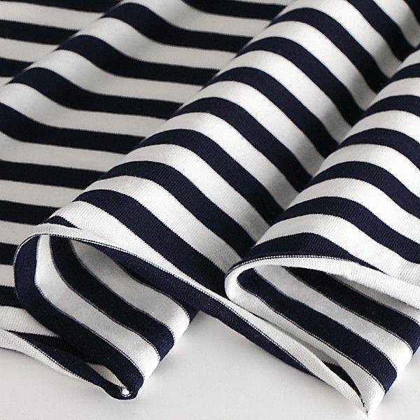 ニット生地 UV加工 綿モダール30天竺ボーダー ネイビー×オフ「UVケア、トップス、インナー向け」 knit-yamanokko 02