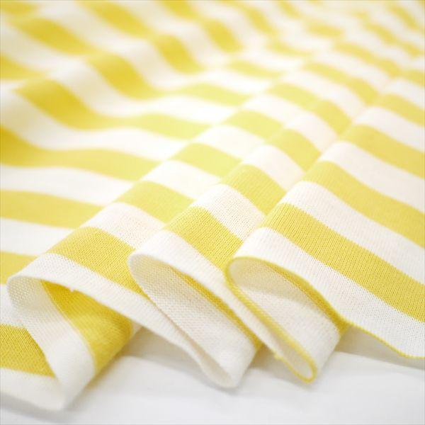 ニット生地 UV加工 綿モダール30天竺ボーダー イエロー×オフ「UVケア、トップス、インナー向け」 knit-yamanokko 02