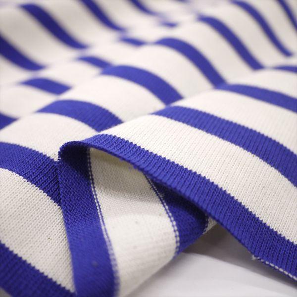 ニット生地 16単糸引き揃えバスクボーダー天竺 キナリ×ブルー 厚手天竺 knit-yamanokko