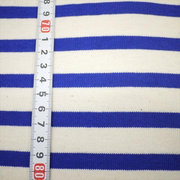 ニット生地 16単糸引き揃えバスクボーダー天竺 キナリ×ブルー 厚手天竺 knit-yamanokko 02