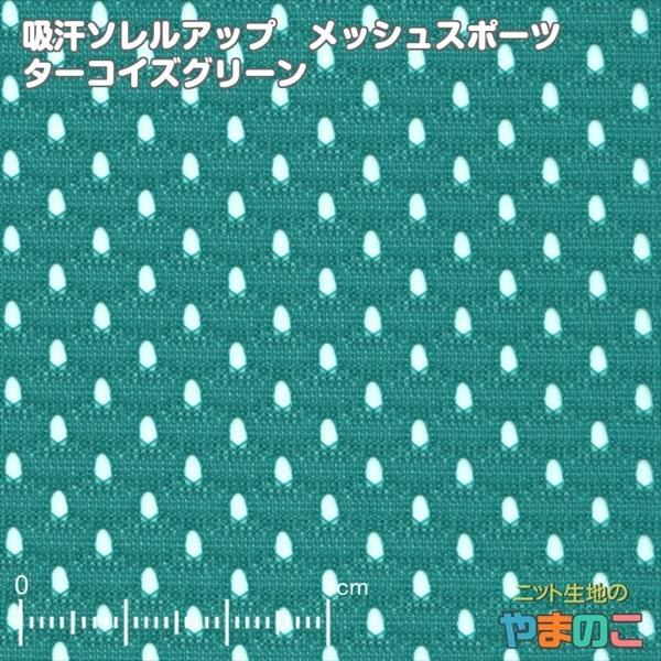 ニット生地 吸汗速乾メッシュスポーツ ターコイズグリーン「犬服、スポーツ向け」|knit-yamanokko