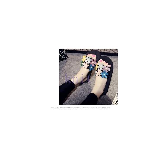 スリッパ レデイース ルームシューズ 美脚 サンダル 靴 シューズ レディース 可愛い 花びら 厚底JZAH-TB109 knit 03
