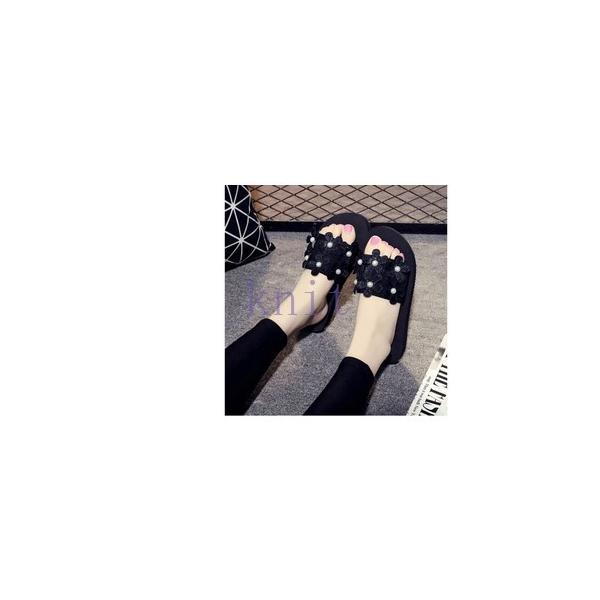 スリッパ レデイース ルームシューズ 美脚 サンダル 靴 シューズ レディース 可愛い 花びら 厚底JZAH-TB109 knit 04