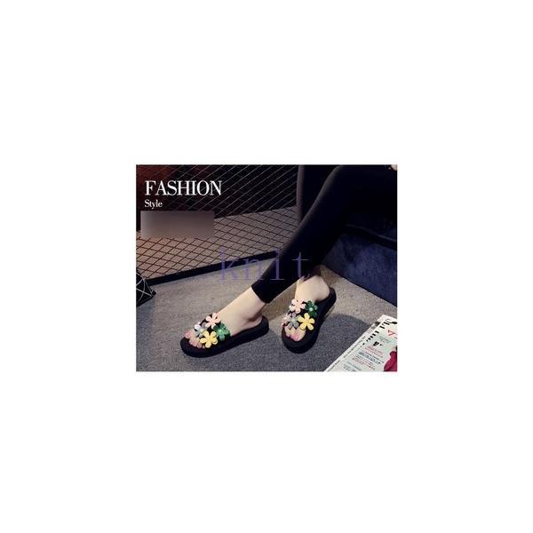 スリッパ レデイース ルームシューズ 美脚 サンダル 靴 シューズ レディース 可愛い 花びら 厚底JZAH-TB109 knit 06