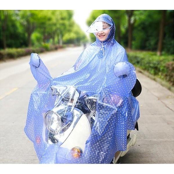 レインポンチョレインコートドット柄大人レディースつば広フード付き撥水通勤通学自転車カッパ雨雨具防水|knit|07