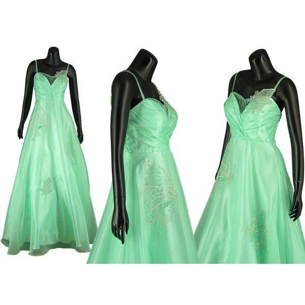 オーガンジーロングドレス結婚式757754aミント9号