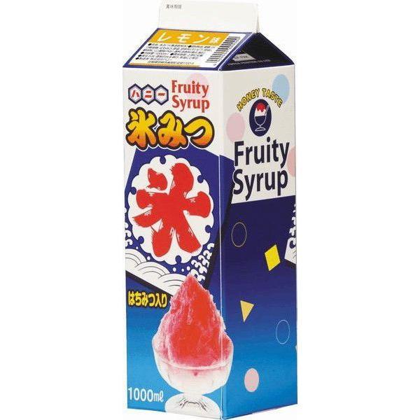 かき氷シロップ-レモン-合成甘味料保存料不添加、1000mL_ハニー製