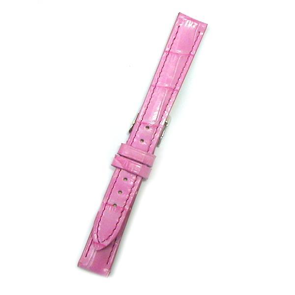 時計バンド 14ミリ 牛革 ワニ柄型押し ピンク BANBI バンビ