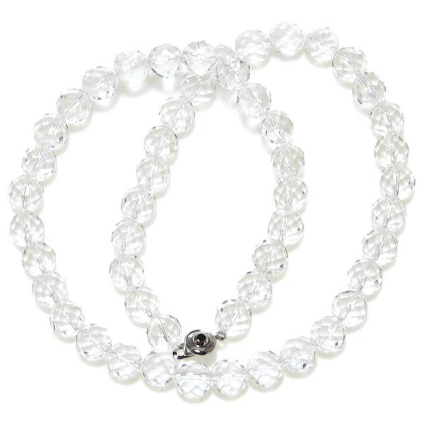 最高AAAグレード 32面カット 水晶 ネックレス 10mm 50cm 4月 誕生石 クリスタル クオーツ クウォーツ 数珠 純粋 神秘 ヒマラヤ