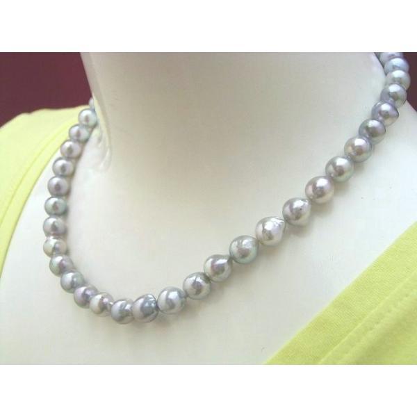 バロックのナチュラルブルーアコヤ黒真珠 ネックレス kobe hokodo 38cm 40cm 42cm 6月 誕生石 藍玉 緑柱石 恋愛 エネルギー 天然石 数珠