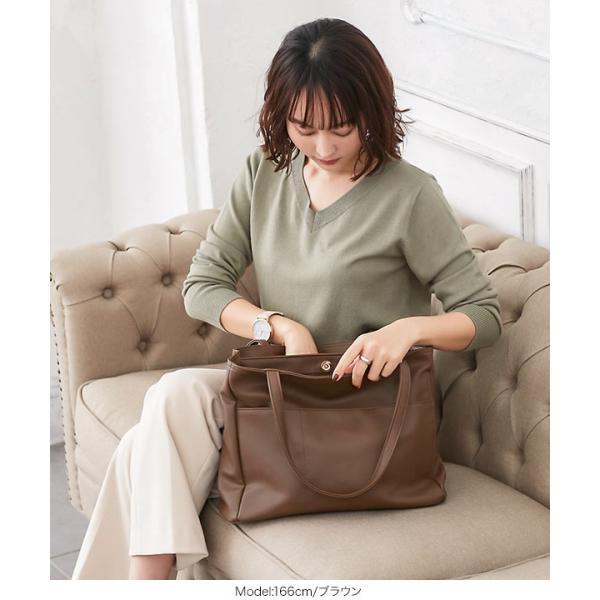 トートバッグ バッグ レディース ポケット A4サイズ対応 鞄 大容量 肩掛け 通勤 B1344送料無料|kobelettuce|15
