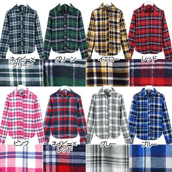 チェック柄 シャツ 長袖 ネルシャツ チェックシャツ レディース C1657|kobelettuce|02