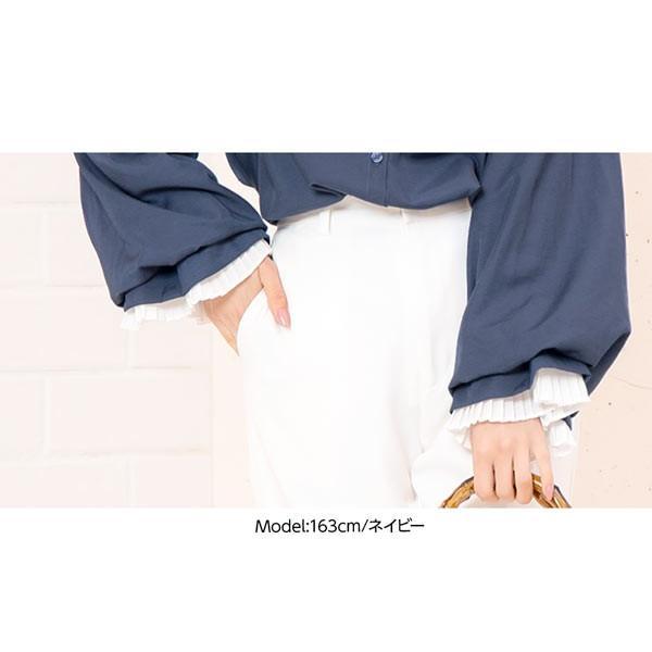 ブラウス レディース トップス シャツ プリーツ ゆったり 体型カバー ボリューム袖 40代 30代 C3704|kobelettuce|07