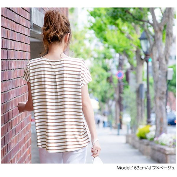 Tシャツ カットソー 半袖 接触冷感 タック フレンチスリーブ ひんやり 涼しい とろみ トップス レディース C3806|kobelettuce|08