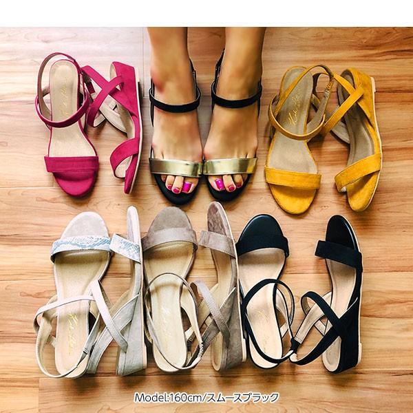 サンダル ウェッジソール 靴 シューズ 3.5cmヒール ウェッジソールゴムサンダル レディース 30代 40代 I1801|kobelettuce|06