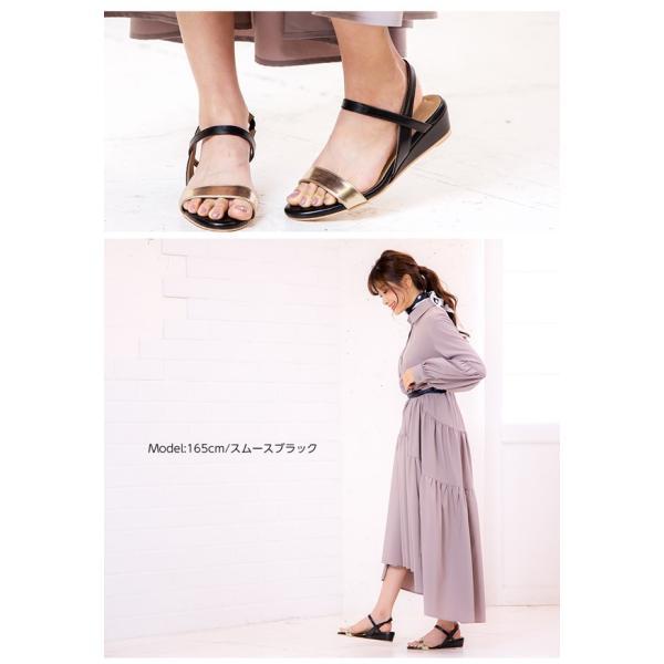 サンダル ウェッジソール 靴 シューズ 3.5cmヒール ウェッジソールゴムサンダル レディース 30代 40代 I1801|kobelettuce|08
