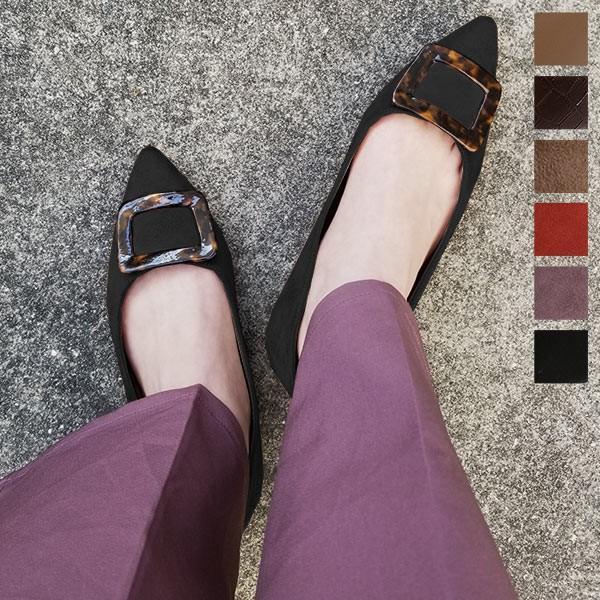 パンプス フラットパンプス ぺたんこ 靴 ポインテッドトゥ スクエアモチーフ シューズ レディース I1921|kobelettuce