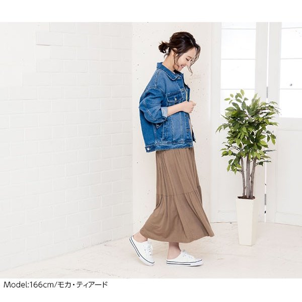 セール☆スカート プリーツ プリーツスカート 2TYPE ティアード ウエストゴム カットソー レディース ミディ丈 M2415|kobelettuce|14