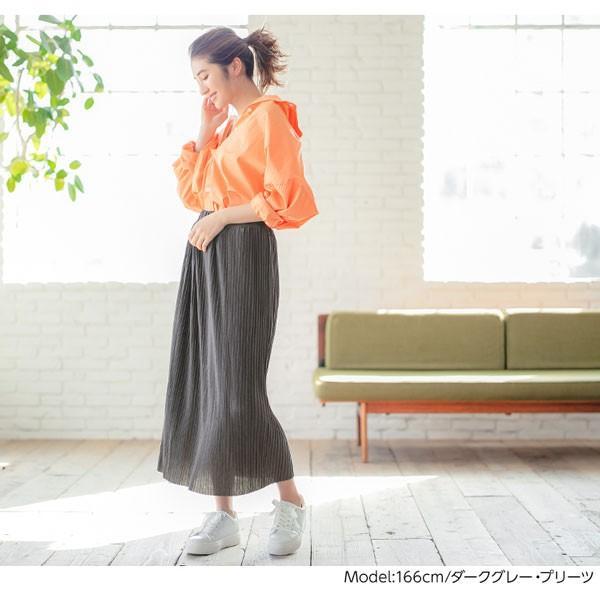 セール☆スカート プリーツ プリーツスカート 2TYPE ティアード ウエストゴム カットソー レディース ミディ丈 M2415|kobelettuce|05