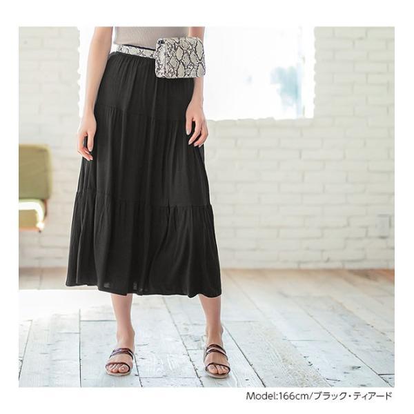 セール☆スカート プリーツ プリーツスカート 2TYPE ティアード ウエストゴム カットソー レディース ミディ丈 M2415|kobelettuce|07