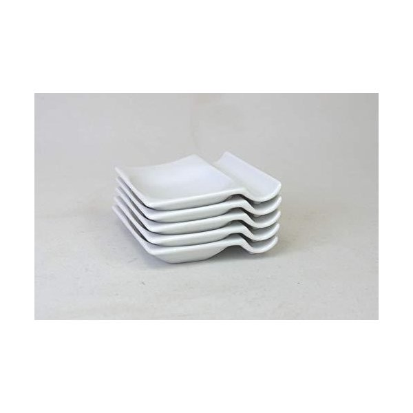 アイトー(Aito)小皿ホワイト約奥7.3×幅8.0×高1.5cm便利な箸置き小皿(5枚組)