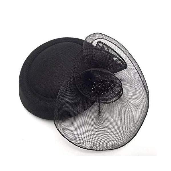 カクテルヘットトーク帽フォマール帽子黒ミニハットヘッドドレス髪飾り結婚式パーディー冠婚葬祭帽?