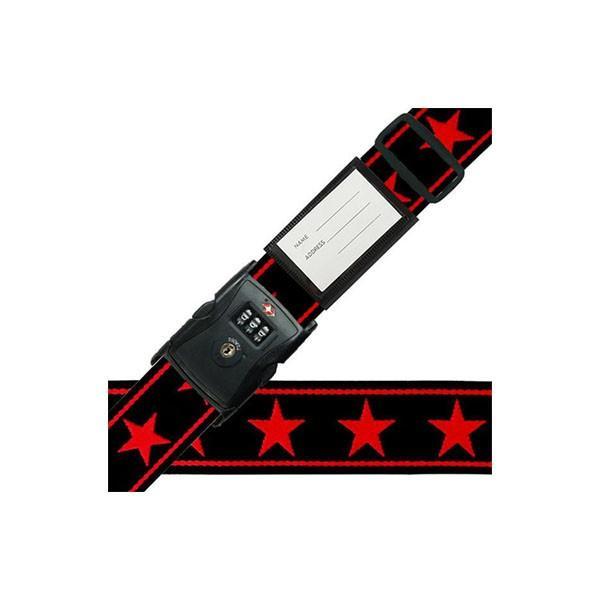 スーツケースベルト TSAベルト ビッグスター柄 黒×赤 送料無料 同梱不可