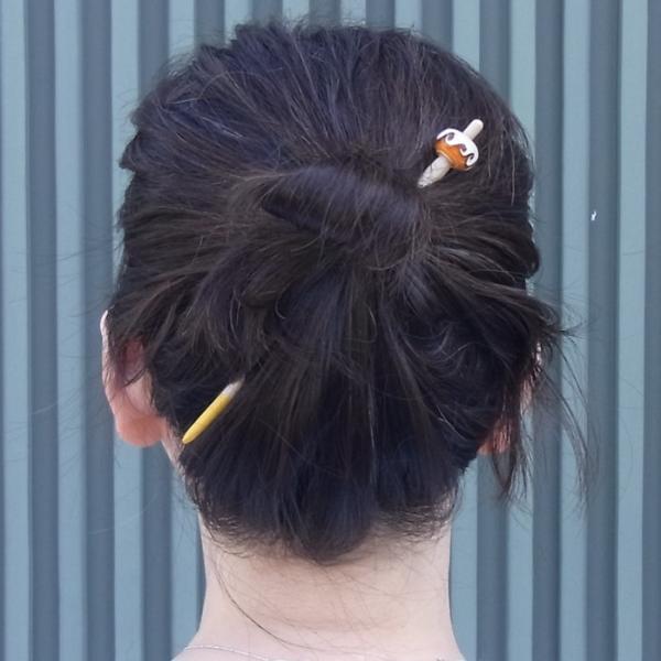 かんざしや とんぼ玉 かんざし 波 茶 現品限り 1点もの 髪飾り ヘアアクセサリー kochi-bussan 03