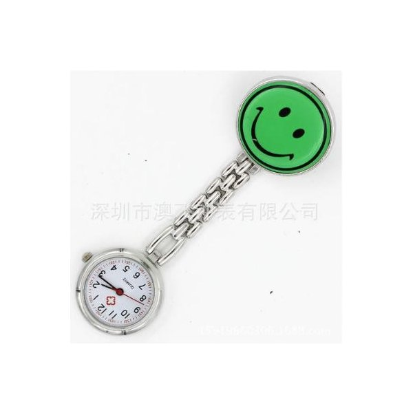 ナースウォッチ クリップ時計 ナース時計 逆さ文字盤 秒針付 かわいい 看護師 看護学生にも 就職 入学祝いに (緑 グリーン)