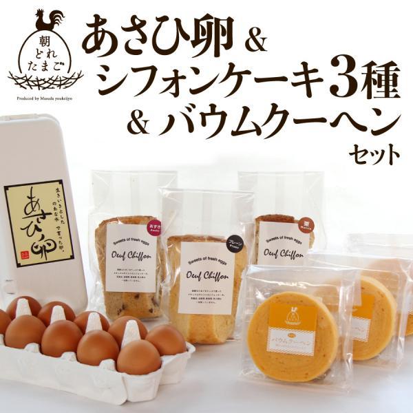 あさひ卵とシフォンケーキ3種バウムクーヘンセット プレーン くまもと和栗 北海道小豆 送料無料