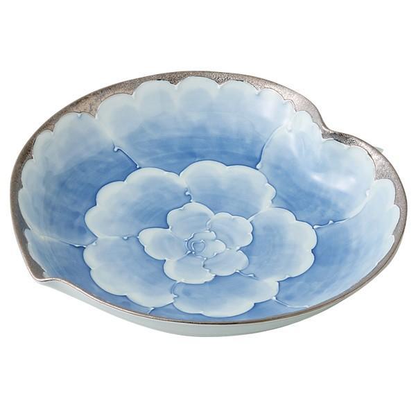 敬老の日 プレゼント 有田焼 磁器 皿 大皿 プラチナ 牡丹 結婚 引き出物 日本製  プラチナ牡丹 りんご預け鉢 S33-10859