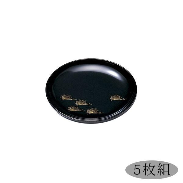 銘々皿 ブラック 高級 5枚セット 取皿 お菓子 和菓子 おせち 日本製 来客 越前漆器  沈金松 銘々皿 黒 5枚組 1006203